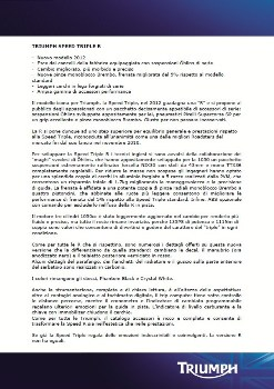 2012 Triumph Speed Triple R MY2012 Cartella Stampa