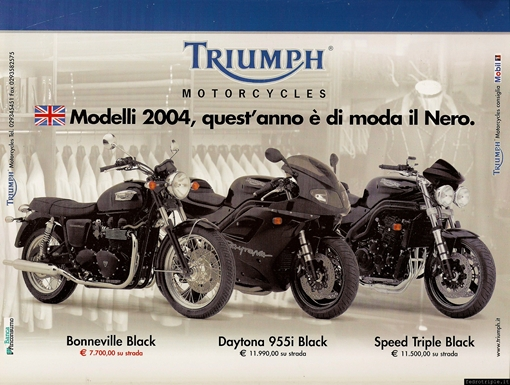 2003 pubblicità Triumph Speed Triple Daytona 955 Bonneville all black