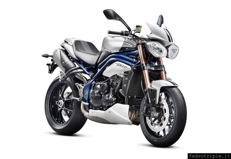 2013 Triumph Speed Triple SE Crystal White a blu frame